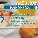 Appropriations Chairman Stan Saylor to Speak at April 19 PHIA Breakfast